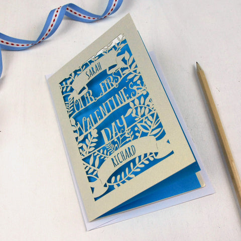 Personalised Papercut First Valentine's Card - A5 / Cream / Peacock Blue
