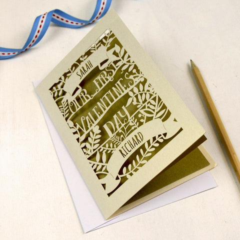 Personalised Papercut First Valentine's Card - A5 / Cream / Gold Leaf