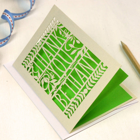 Personalised Papercut Floral Thank You Card - A5 / Cream / Bright Green