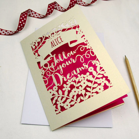 Personalised Papercut Follow Your Dreams Card - A5 / Cream / Shocking Pink