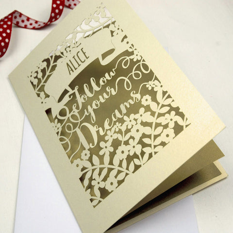 Personalised Papercut Follow Your Dreams Card - A5 / Cream / Gold Leaf