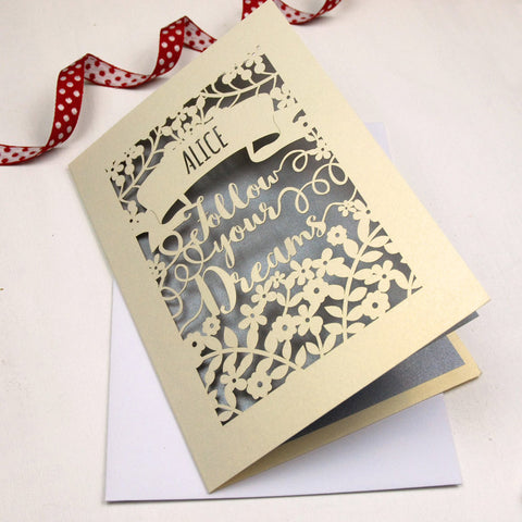 Personalised Papercut Follow Your Dreams Card - A5 / Cream / Silver