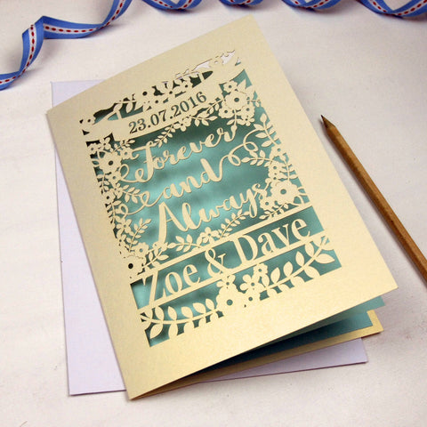 Personalised Papercut 'Forever And Always' Wedding Card - A5 / Cream / Baby Blue