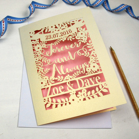 Personalised Papercut 'Forever And Always' Wedding Card - A5 / Cream / Candy Pink