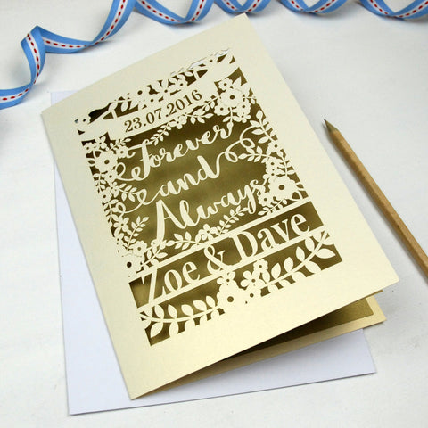Personalised Papercut 'Forever And Always' Wedding Card - A5 / Cream / Gold Leaf