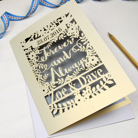 Personalised Papercut 'Forever And Always' Wedding Card - A5 / Cream / Silver