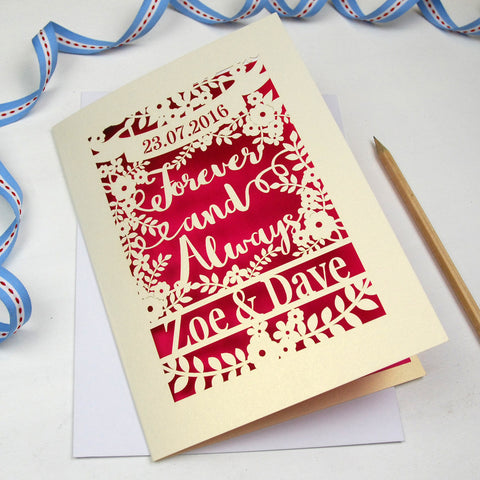 Personalised Papercut 'Forever And Always' Wedding Card - A5 / Cream / Shocking Pink