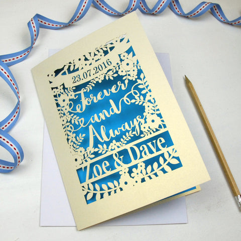 Personalised Papercut 'Forever And Always' Wedding Card - A5 / Cream / Peacock Blue