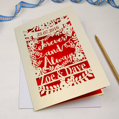 Personalised Papercut 'Forever And Always' Wedding Card - A5 / Cream / Bright Red