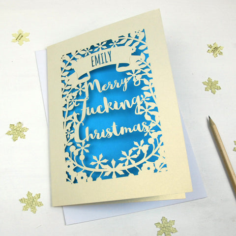 Personalised 'Merry Fucking Christmas' Papercut Card - A5 / Cream / Peacock Blue