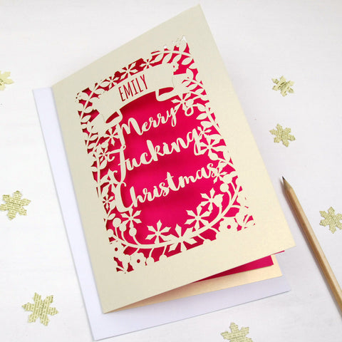 Personalised 'Merry Fucking Christmas' Papercut Card - A5 / Cream / Bright Green