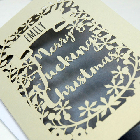 Personalised 'Merry Fucking Christmas' Papercut Card - A5 / Cream / Silver