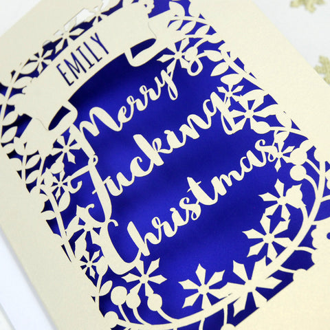 Personalised 'Merry Fucking Christmas' Papercut Card - A5 / Cream / Infra Violet