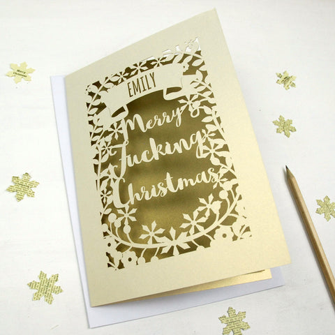 Personalised 'Merry Fucking Christmas' Papercut Card - A5 / Cream / Bright Red