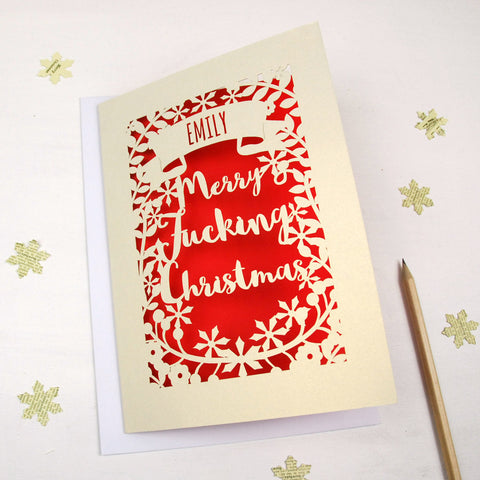 Personalised 'Merry Fucking Christmas' Papercut Card - A5 / Cream / Shocking Pink