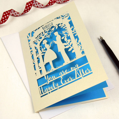 Papercut Happily Ever After Card - A5 / Cream / Peacock Blue
