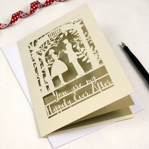 Papercut Happily Ever After Card - A5 / Cream / Gold Leaf