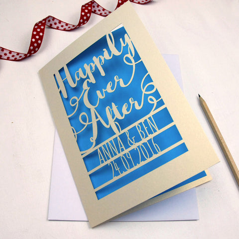 Personalised Papercut Happily Ever After Card - A5 / Cream / Peacock Blue