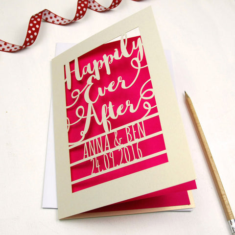 Personalised Papercut Happily Ever After Card - A5 / Cream / Shocking Pink