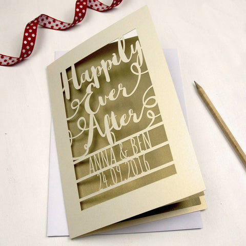 Personalised Papercut Happily Ever After Card - A5 / Cream / Gold Leaf