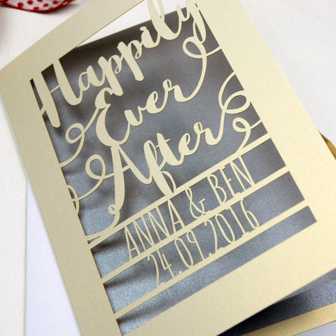 Personalised Papercut Happily Ever After Card - A5 / Cream / Silver