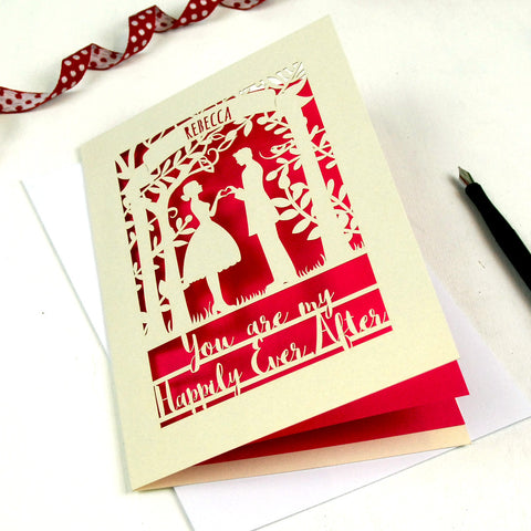 Papercut Happily Ever After Card - A5 / Cream / Shocking Pink