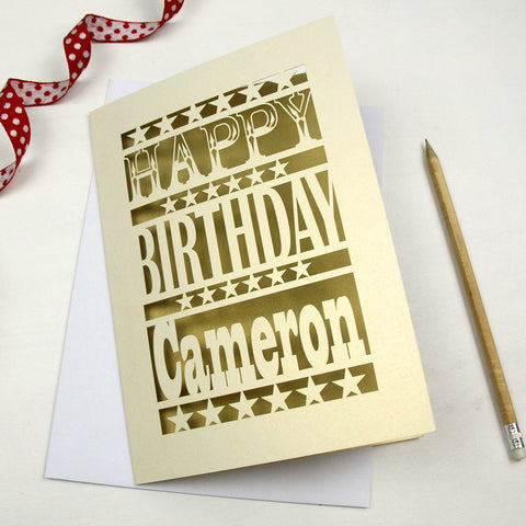 Personalised Happy Birthday Papercut Card - A5 / Cream / Gold Leaf