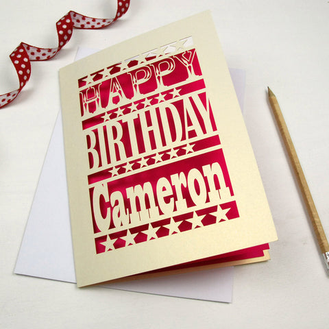 Personalised Happy Birthday Papercut Card - A5 / Cream / Shocking Pink