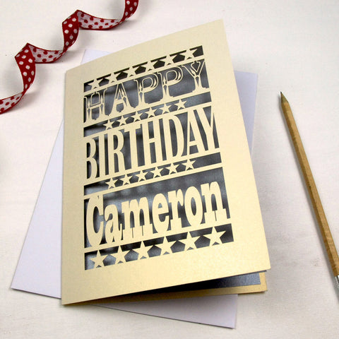 Personalised Happy Birthday Papercut Card - A5 / Cream / Silver