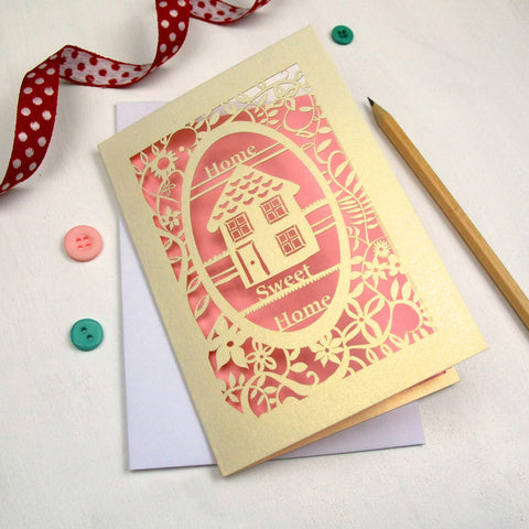 New Home Papercut Card - A6 / Cream / Candy Pink