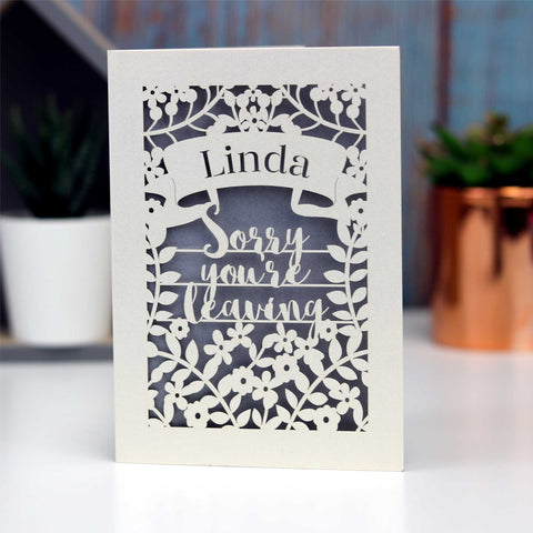 Personalised Leaving Card - A5 / Cream / Bright Green