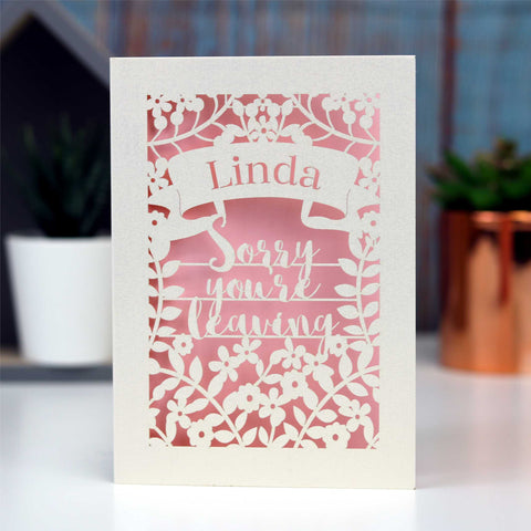 Personalised Leaving Card - A5 / Cream / Silver