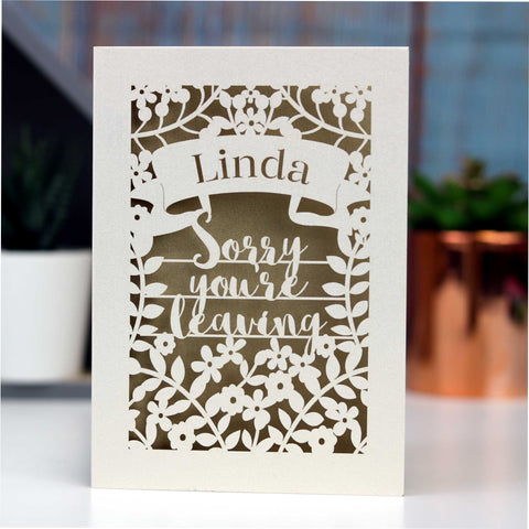 Personalised Leaving Card - A5 / Cream / Shocking Pink