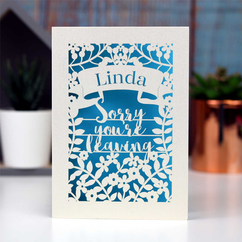 Personalised Leaving Card - A5 / Cream / Peacock Blue
