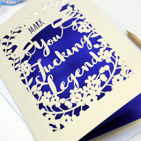 Personalised 'You Fucking Legend' Papercut Card - A5 / Cream / Infra Violet