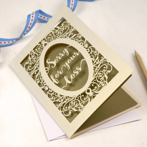 Papercut Sympathy Card - A5 / Cream / Gold Leaf