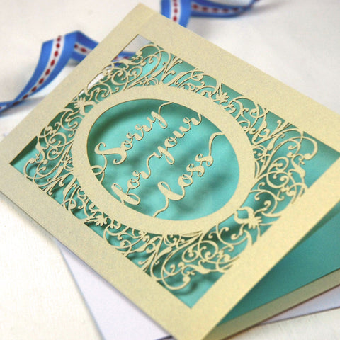 Papercut Sympathy Card - A5 / Cream / Baby Blue