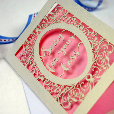 Papercut Sympathy Card - A5 / Cream / Candy Pink