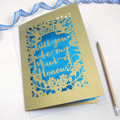 Personalised Maid of Honour Card - A5 / Gold Leaf / Peacock Blue