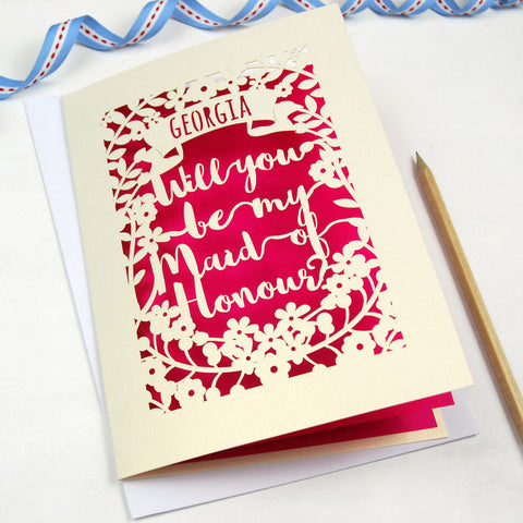 Personalised Maid of Honour Card - A5 / Cream / Shocking Pink