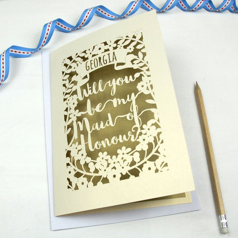 Personalised Maid of Honour Card - A5 / Cream / Gold Leaf