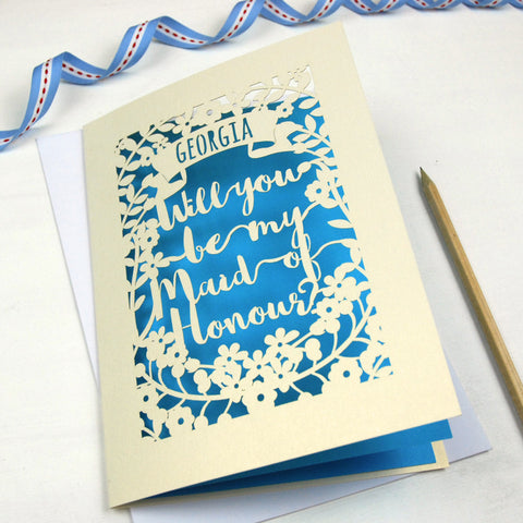 Personalised Maid of Honour Card - A5 / Cream / Peacock Blue