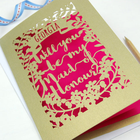 Personalised Maid of Honour Card - A5 / Gold Leaf / Shocking Pink