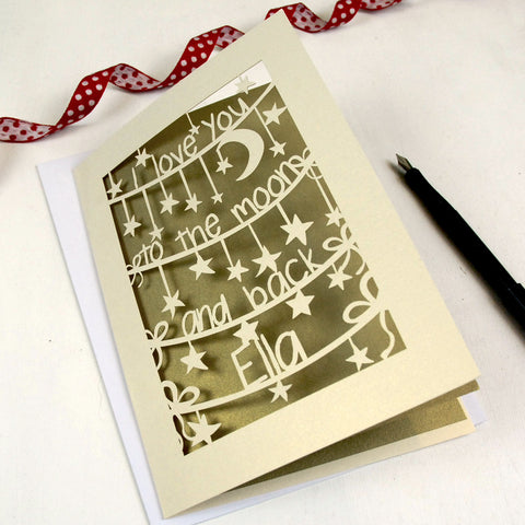 'To The Moon And Back' Personalised Card - A5 / Gold Leaf / I love you to the moon and back
