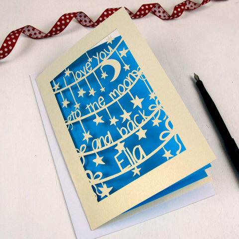 'To The Moon And Back' Personalised Card - A5 / Cream / Peacock Blue