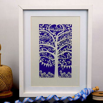 Family Tree Unframed A4 Papercut - Infra Violet