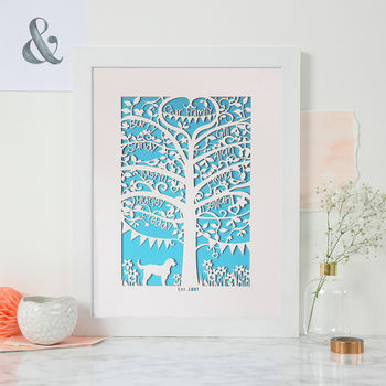 Family Tree Unframed A4 Papercut - Peacock Blue