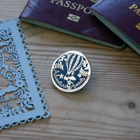Adventure Awaits Hard Enamel Pin In Silver And Blue -