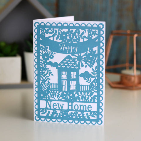 Happy New Home Printed Teal Card A6