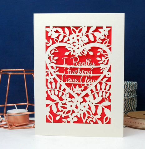 I Really F***ing love You Papercut Card - A5 (large) / Bright Red